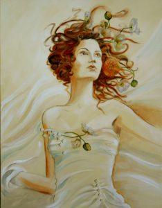 Dame mit Blütenhaar